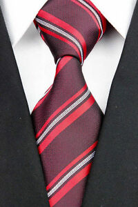 Dark Red Woven 100% Pure Silk Neck Tie with Orange and White Diagonal Stripes