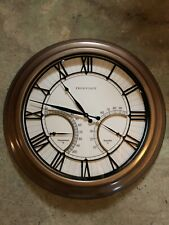 Large Frontgate 24 inch (weatherproof) outdoor clock w/weather displays Exc Cond