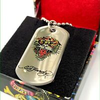 ED HARDY KING PANTHER DOG TAG PENDANT  NECKLACE