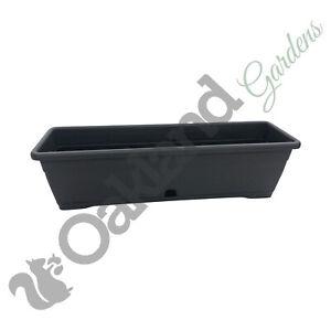 3 x 60cm Trough Planter Window Box Versilia Pot Dark Grey Drip Tray Anthracite