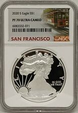 2020 S Silver American Eagle NGC PR70 Ultra Cameo San Francisco Trolley Label