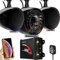 Bluetooth ATV UTV RZR Polaris Stereo 3 Speakers Audio 600W Amp FM Radio System