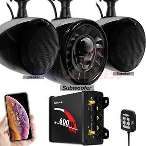 Bluetooth ATV UTV RZR Polaris Stereo 3 Speakers Audio 600W Amp FM Radio System