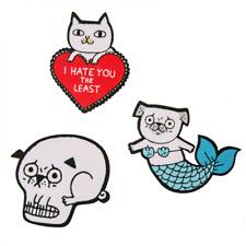 SET OF 3 X IRON ON PUG PATCHES Gemma Correll Tattoo Inspired Quirky Fun Pugskull