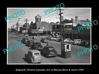 OLD LARGE HISTORIC PHOTO OF KALGOORLIE WA, VIEW OF HANNAN St & STORES c1950 2