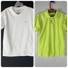 Lot Of 2 Boys Shirts 1 Ck White T-Shirt 1 Polo Shirt Green Short Sleeve Sz Small
