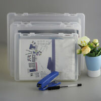 Clear File Plastic Document Case Storage Box Holder Paper Office School Supplies