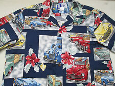 RJC Mens Hawaiian Shirt Size M Made in Hawaii Surf Boards Woody Car USA Button
