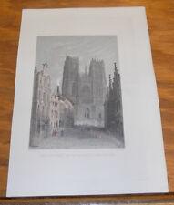c1840 Antique COLOR Print///CHURCH OF ST. GUDULE, BRUSSELS, BELGIUM