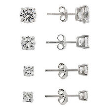 4 Pairs Rhodium Plated Silver Tone CZ Stud Earrings Set