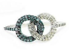 10K White Gold Blue & white Diamond Infinity Ring Linked Circle Band .33ct