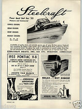 1955 PAPER AD Steelcraft Motor Boat Boats Express Cruiser Sport Holiday Diesel