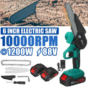 """1200W 6"""" Cordless Electric Chain Saw Wood Cutter Saw Wood working Mini + Battery"""