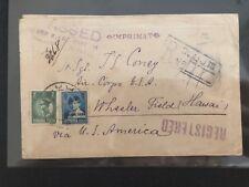 Cover Romania Censor 1930 Registered Cluj via New York Hawaii Imprimat