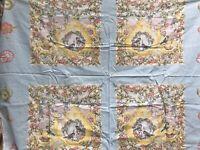 """Teapots Birds Flowers Tea Floral Pillow Panel Fabric Remnant 44"""" x 34"""" Pastels"""