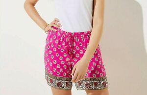 NEW Loft Pink Border Print Pull On Drawstring Shorts Size L