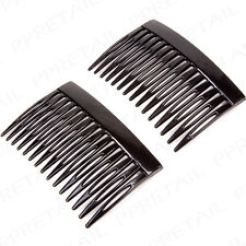 2 x Black Hair Side Comb Strong Slide Grip Wedding Updo Accessories Fascinator