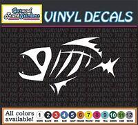 "Skeleton Fish BONES Funny Fishing Vinyl Car Decal window sticker 6"""