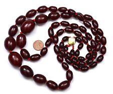 Old Cherry Amber Bakelite Carved Prayer Rosary Bead Necklace 12K Gold Fill 143G