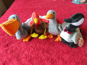 TY BEANIE BABIES TAGGED GOBBLES HONKS LOOSY SCOOP BIRDS - FOR GREYHOUND RESCUE
