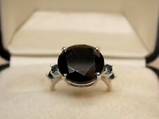 10.00+ Ct AAA Black 100% Moissanite Round 925 Silver WOMEN'S Ring 14mm