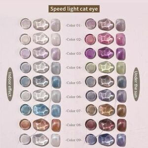 Discolored Cat Eye Nail Polish Gel Changing Color In Light Nails Art Varnish