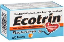 3 Pack Ecotrin 81mg Safety Coated Enteric Aspirin Low Strength 150 Tablets Each