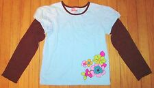 Hanna Andersson Blue Brown Flowers Long Sleeve Layered Top Shirt Size 140 10-12
