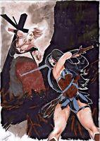 DC MARVEL Comics WONDER WOMAN v CAPTAIN MARVEL Original Art JUSTICE AVENGERS WAR