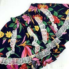 Vintage Pitchfork Brand Circle Swing Square Dance Skirt Size M Black Floral Vlv