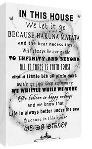 We Do Disney In This House Quote on CANVAS WALL ART Picture Print Black & White