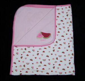 Gymboree Pink Sweet Watermelon Baby Blanket Cotton Reversible 2007 Security