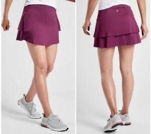 NWT Athleta Momentum Skort Berry Plum Knit Layered Swing Skirt Zip Pocket Size L