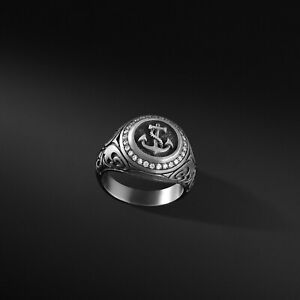 Mens Anchor Silver Ring Sterling Signet Ring Oxidized Ring For Man Anchor Gift