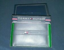 Tommy Hilfiger Mens Gray Leather Bifold Wallet w Removal Card Holder New