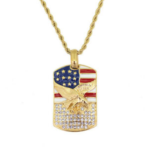24K Gold Eagle Usa Flag Pendants Necklaces With Chain Women Statement Jewelry