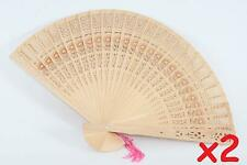 Oriental Tradition Hand Folding Wood Carved Fans 2 Pack Chinese Japanese Fans