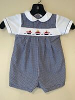 Petit Ami Baby Toddler Smocked Ships Boats Boys Romper Shortall Size 9 Months