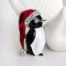Cute Merry Christmas Crystal Penguin With Santa Hat Brooch For Women And Girls
