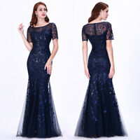 Ever-Pretty Mesh Sleeve Long Evening Prom Dresses Mermaid Mother of Bride Gowns