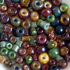 Aged Picasso Mix Czech Seed Beads, Large Hole Beads, Tile Beads, Tube Beads 100+
