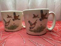 (2) Vintage Hyalyn Pheasant Mug Made in USA EUC