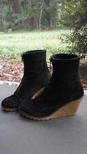 DIBA Sz 7 1/2 Black Suede Front Zip Ankle Boots Platform Women's Booties