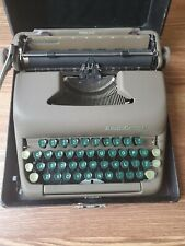 Vintage Smith Corona Sterling Typewriter With Case Green Keys Great Condition