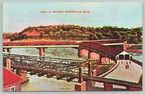 Zanesville Ohio~Old Y Bridge~Standard Chrome Postcard
