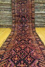 exquise Primitive ANCIEN cr1930-1939s laine Pile 94cm × 348cm Kurde Couloir