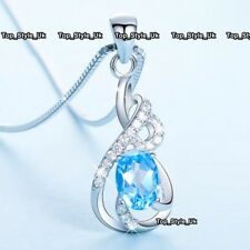 925 Sterling Silver Blue Topaz Necklace Birthday Presents Gift for Her Girl J618