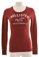 HOLLISTER Womens Graphic Top Long Sleeve Size 10 Small Burgundy Cotton  BC17