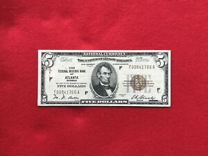 FR-1850F 1929 Series $5 Atlanta Federal Reserve Bank Note FRBN *Very Fine*
