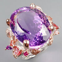 Jewelry Uniuqe Set Natural Amethyst 925 Sterling Silver Ring Size 8/R127441